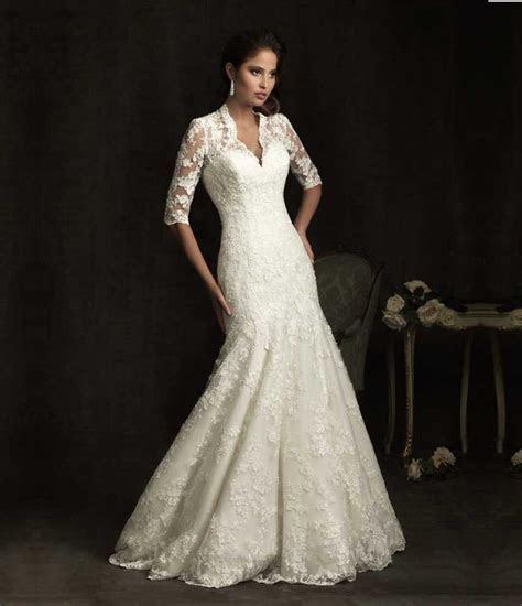 Elegant Sheer Short Sleeve Lace Mermaid Wedding Dress 2015