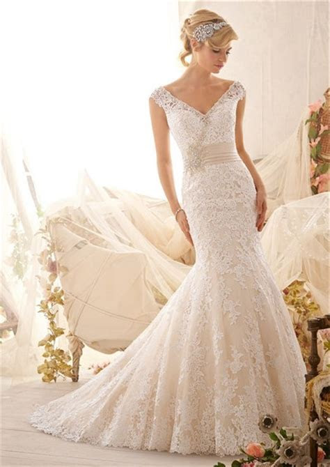 Mermiad V Neck Cap Sleeve Low Back Satin Lace Wedding