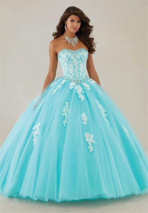 crystal light blue quinceanera ball gown wedding