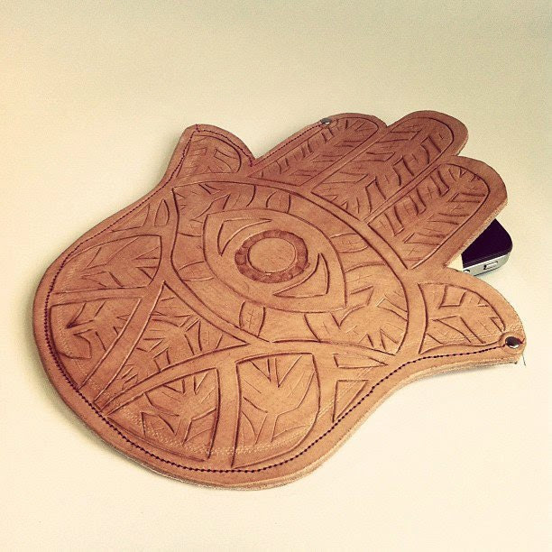 Fatima's Hand Leather Clutch - Cut carved and stained with love