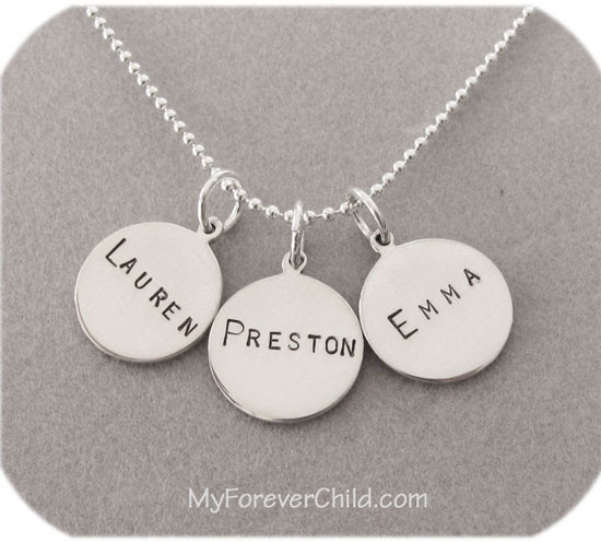Hand Stamped Small Round Charm Necklace