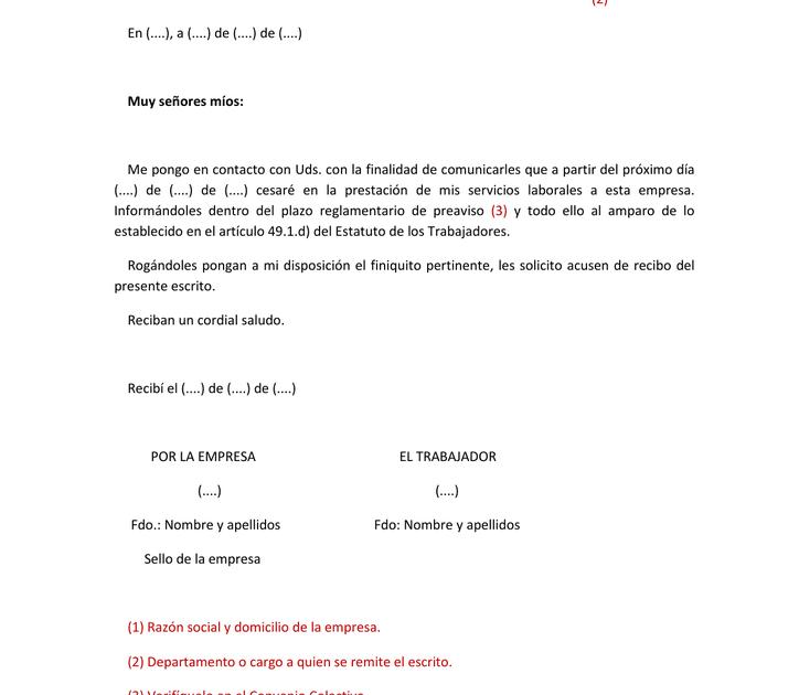 Carta Preaviso Baja Voluntaria Trabajador Quotes About P
