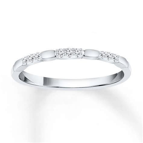 Stackable Ring 1/20 ct tw Diamonds 10K White Gold