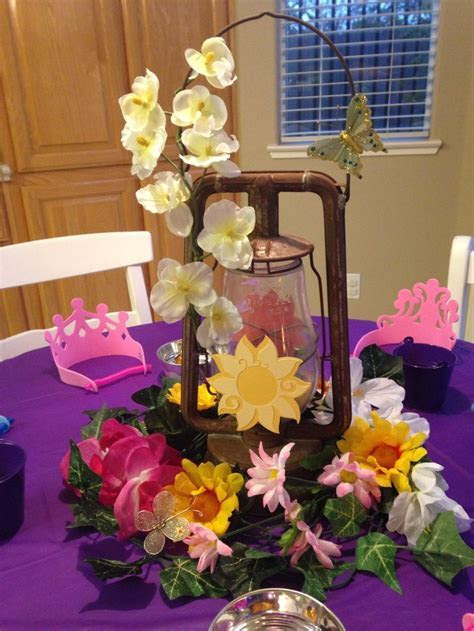 Centerpiece for crown decorating table. Miss K's Rapunzel