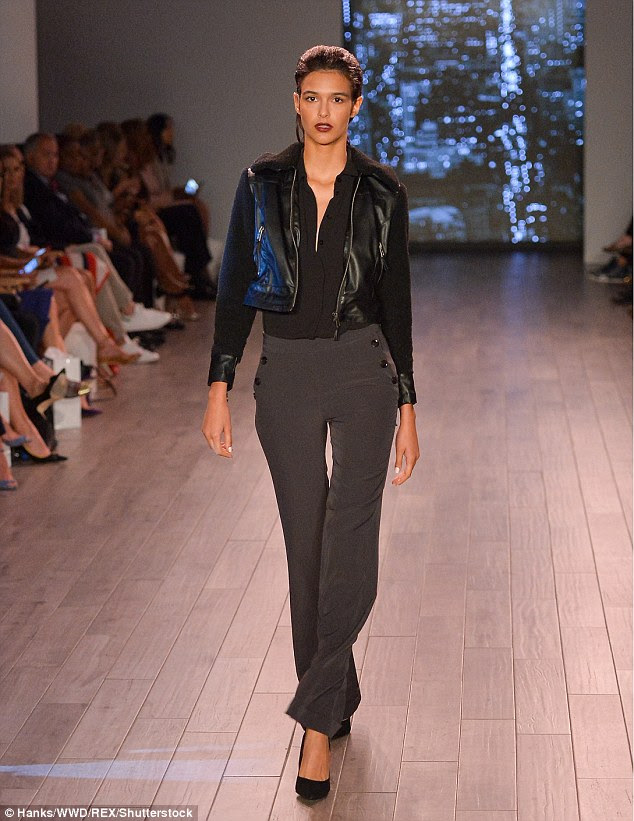 A bit of edge: One of the standout pieces in the collection was a short leather biker jacket