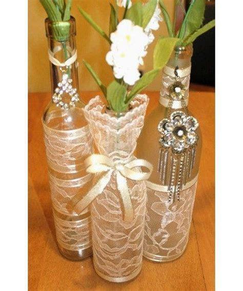 SET(3)  Decorated Wine Bottle Centerpiece Vintage Ivory