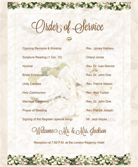 Wedding Order Template ? 38  Free Word , PDF, PSD, Vector