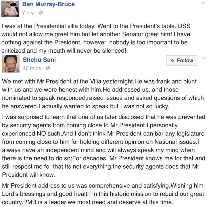 Shehu Sani Reacts To Ben Bruce's Claim That DSS Blocked Him From Seeing PMB