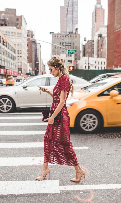 burgundy dress nyfw