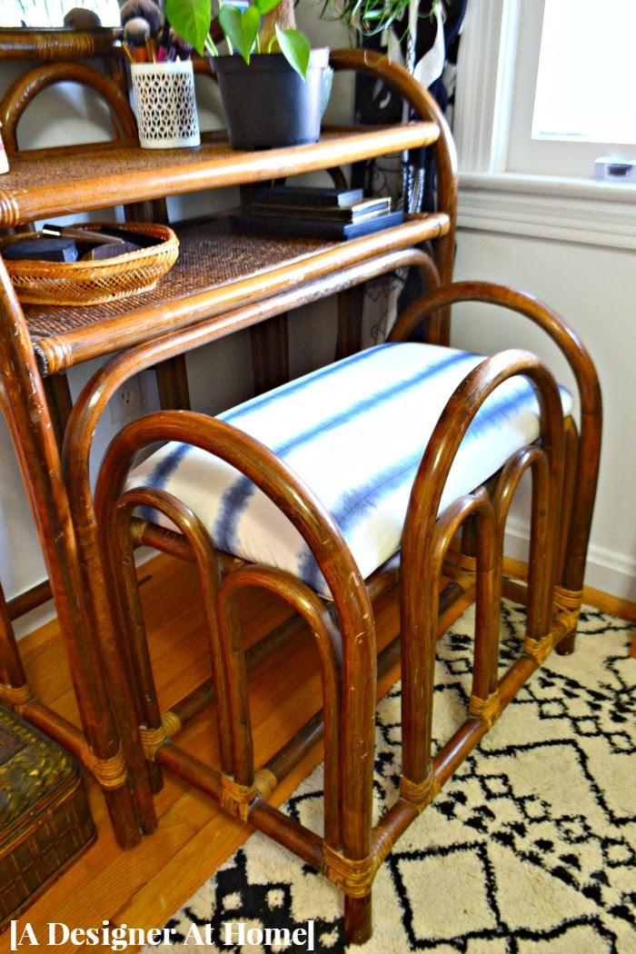 shibori-fabric-reupholstered-rattan-vanity-bench