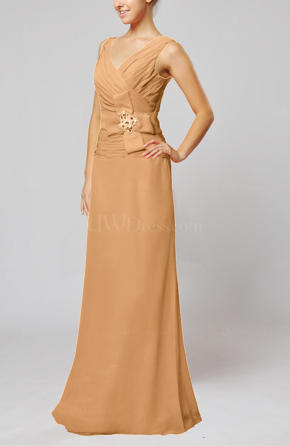 burnt orange elegant sleeveless zip up floor length ribbon