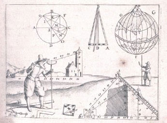 Depiction of surveying in the 17th century