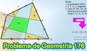 Problema de Geometría 176 (ESL): Cuadrilátero, Puntos medios de los lados, Suma de Áreas de Triángulos.