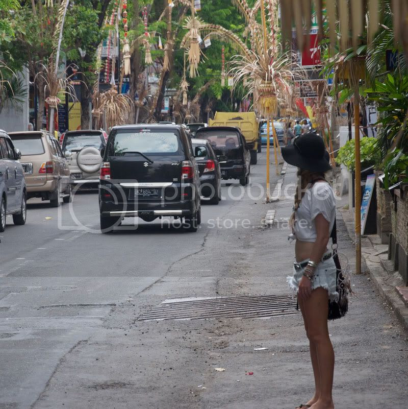 denim shorts,bali,street,hat