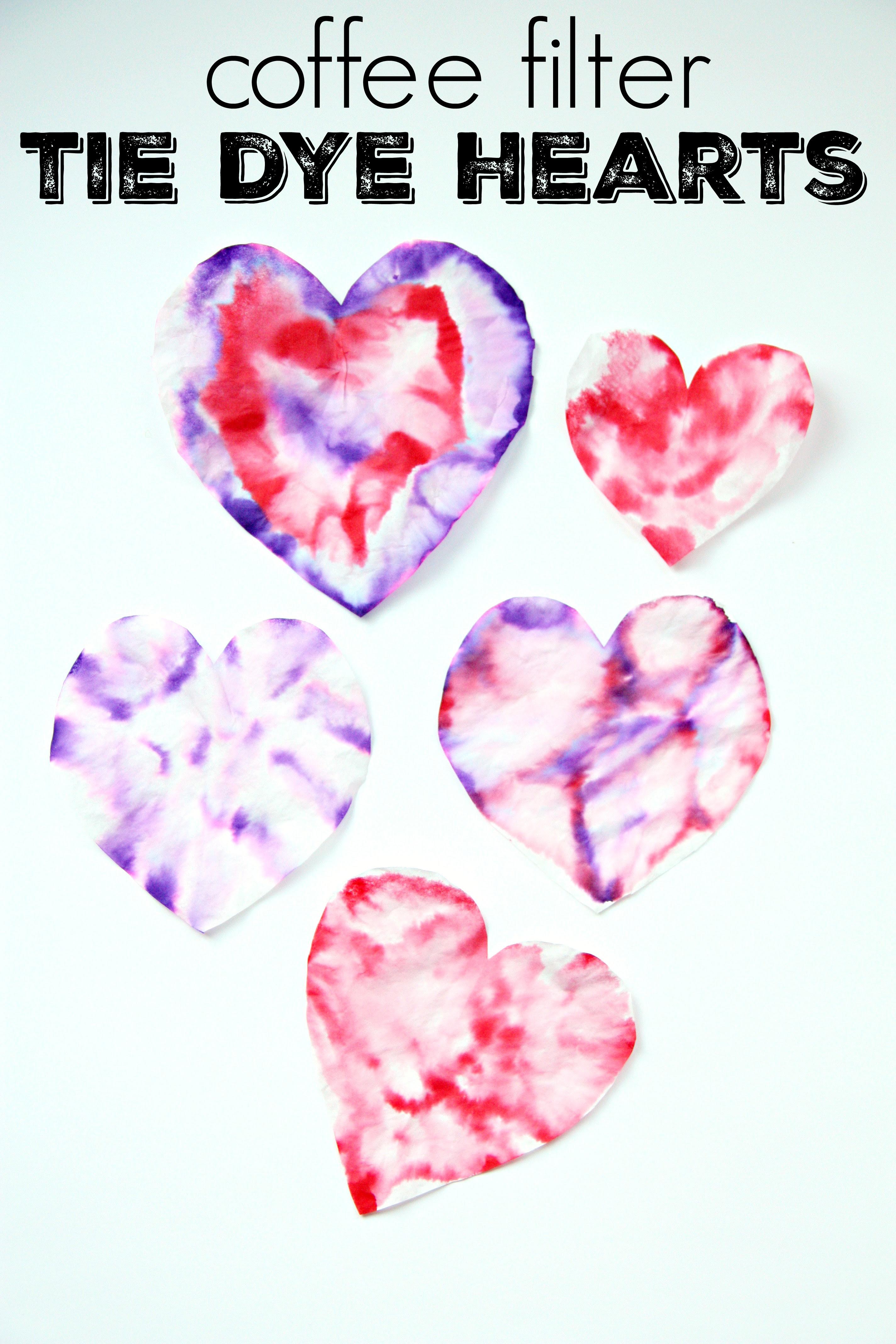 Coffee Filter Tie Dye Hearts - My Mommy Style