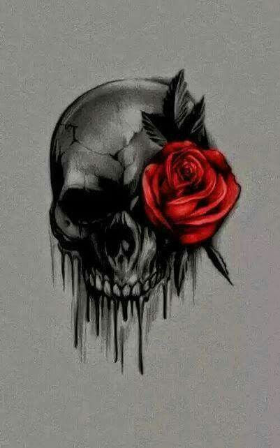 Red Rose With Skull Tattoo Design