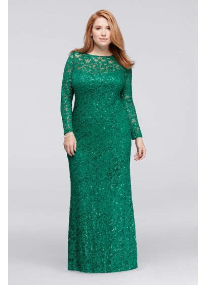 Long Lace Plus Size Dress with Long Sleeves   Davids Bridal