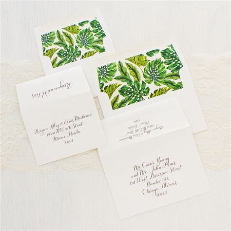Elegant Tropical Wedding Invitations   Beacon Lane