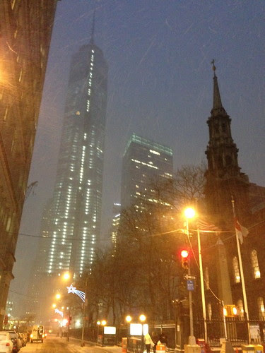 Snowy Freedom Tower & St. Paul's Church, lower Manhattan