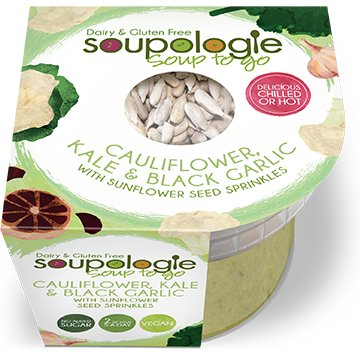 SOUPOLOGIE SOUP TO GO CAULIFLOWER, KALE & BLACK GARLIC WITH SUNFLOWER SEED SPRINKLES