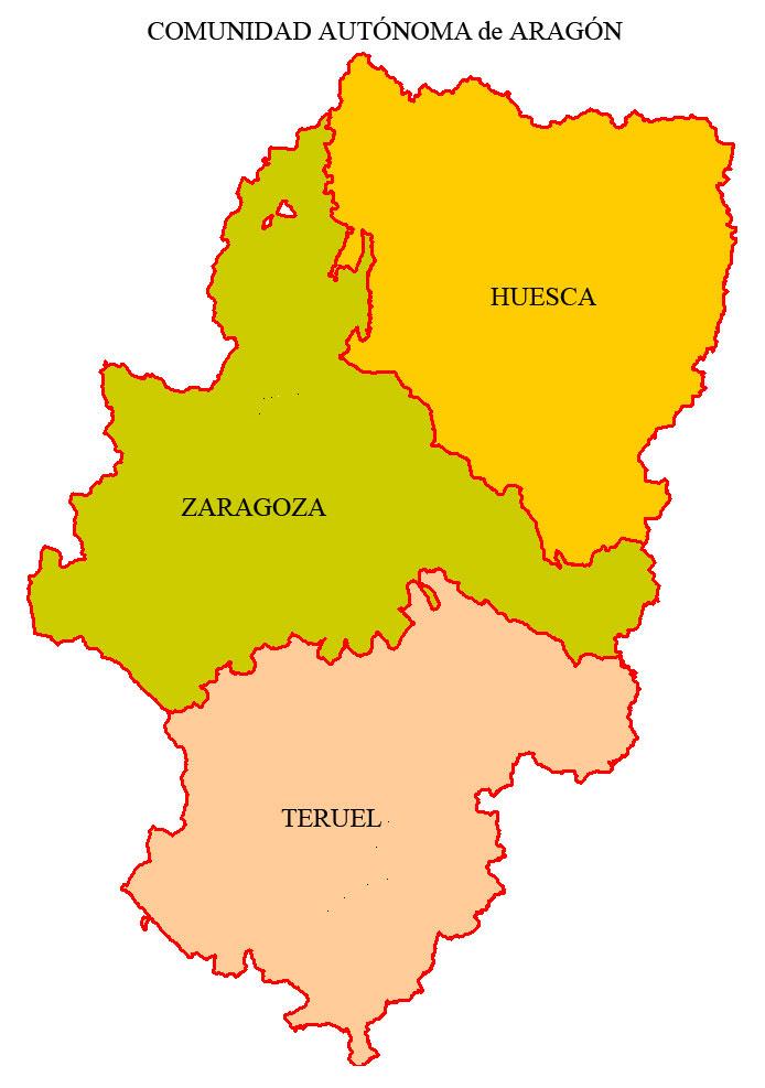 Resultado de imagen de mapa politico aragon