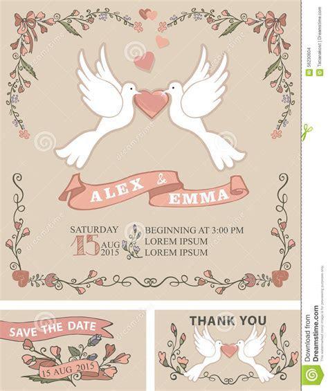 Vintage Wedding Invitation Set.Pigeon,floral Decor Stock