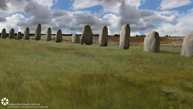 Digital reconstruction of the recent discovery at Durrington Walls, near Stonehenge. Image Courtesy of Ludwig Boltzmann Institute and Phys.org.