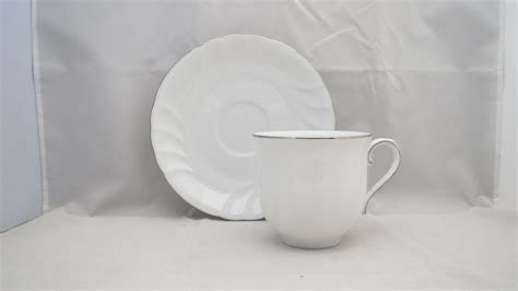 Mikasa Wedding Band Platinum Flat Cup & Saucer Set   eBay