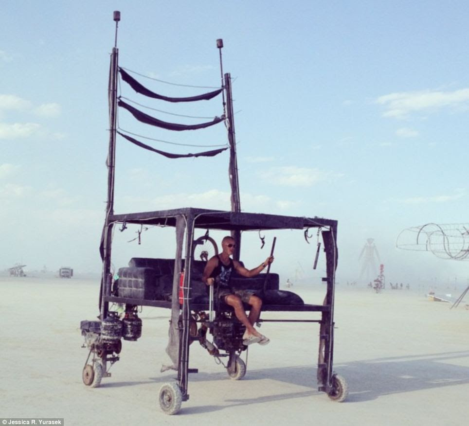 Getting around: One party-goers opts for an alternative type of transport to get around Black Rock City during the festival