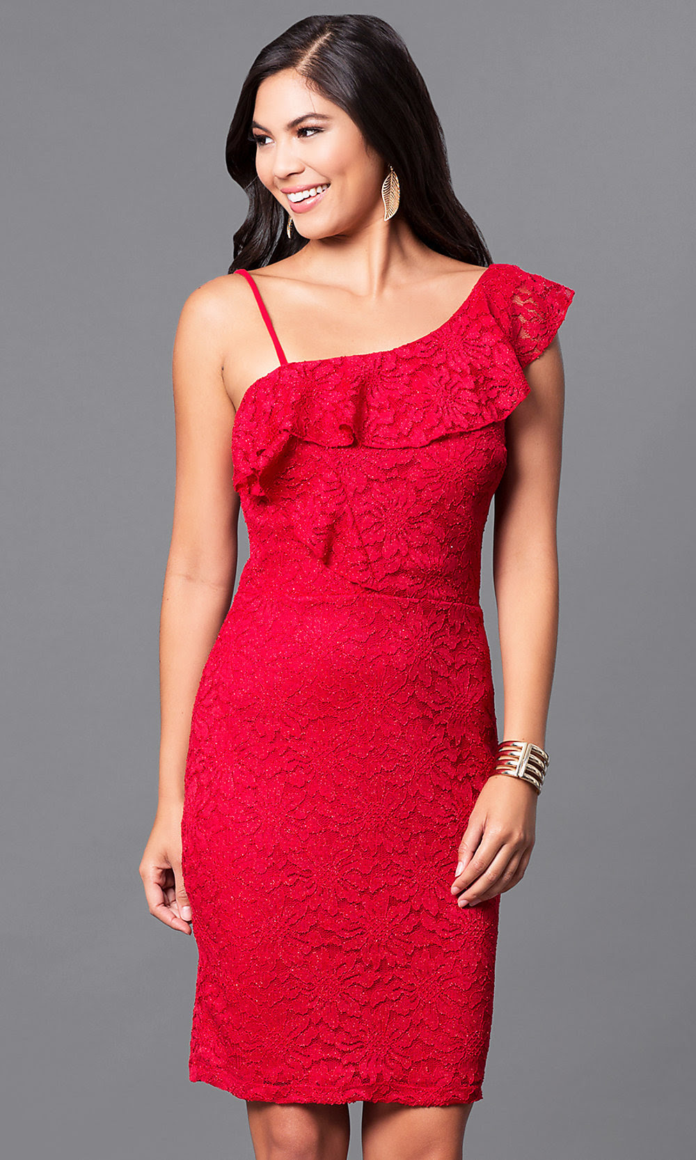 red kneelength lace holiday party dress