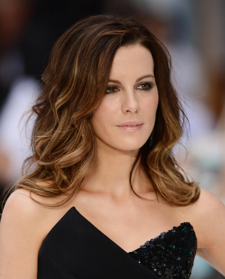 Balayage Highlights Dunkle Haare Kate Beckinsale Braune Kurze
