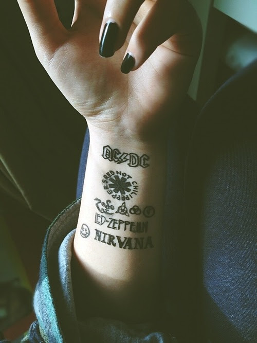 Girl Perfect Nirvana Black Hand Tattoo Bands Fingers Smiley Face