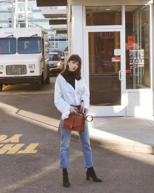 Le Fashion Blog Instagram Blogger Layering Techniques Black Turtleneck Under Button Down Shirt Light Wash Straight Leg Jeans Camel Colored Bag Black Heeled Boots Via @saskaludilo