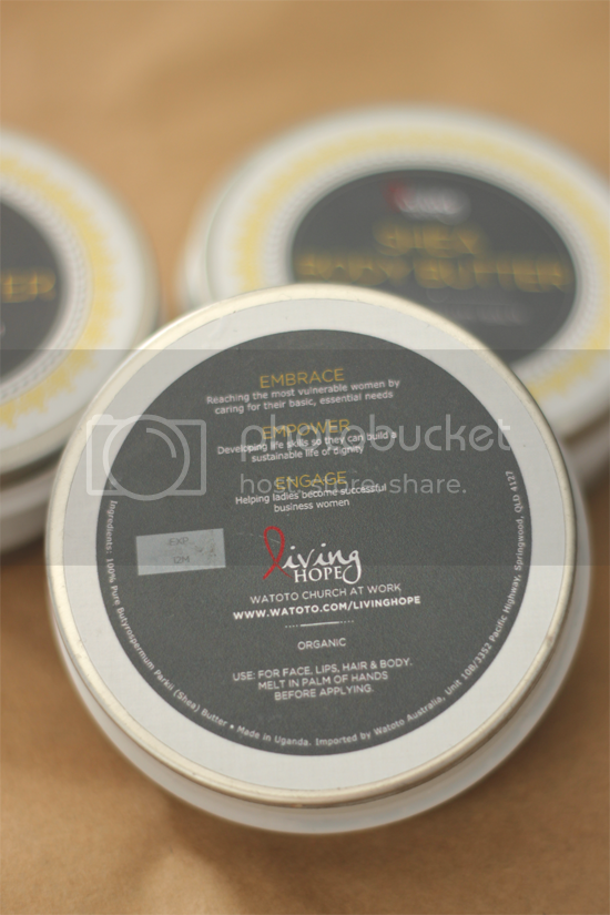 Living Hope Sustainability Projects for Ugandan women - Shea Butter Packaging