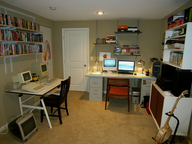 The Lab - Basement work area and vintage Apple collection
