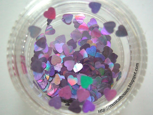 daiso nail art glitter set purple hearts