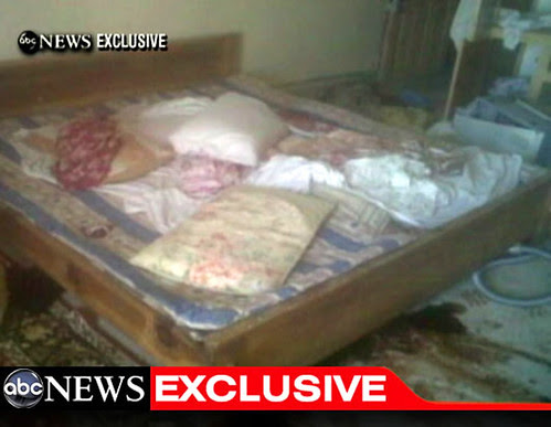 fotografía del dormitorio donde presuntamente fue abatido Bin Laden