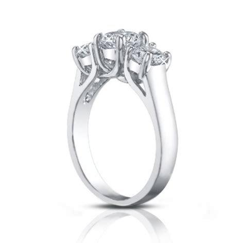 2.25 Ct Three Stone Round Diamond Engagement Ring With