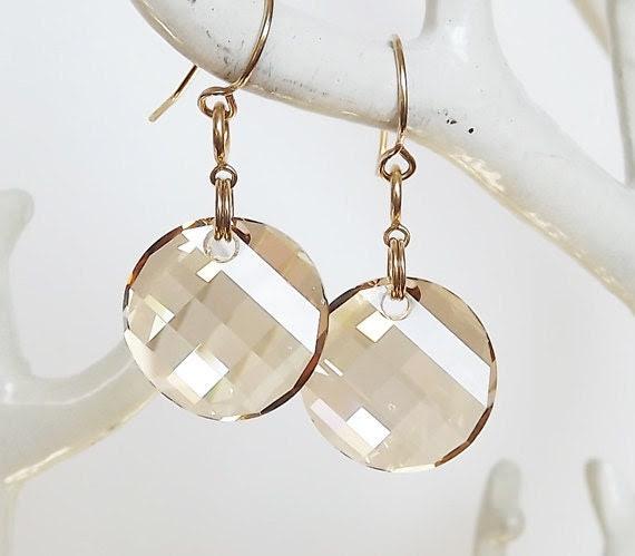 Swarovski Golden Crystal Round Disc Charm Earrings - Bridesmaid Earrings - Crystal Earrings - Disc Earrings