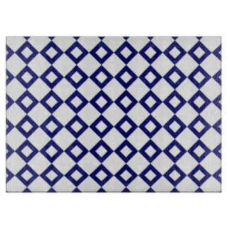 White and Navy Diamond Pattern