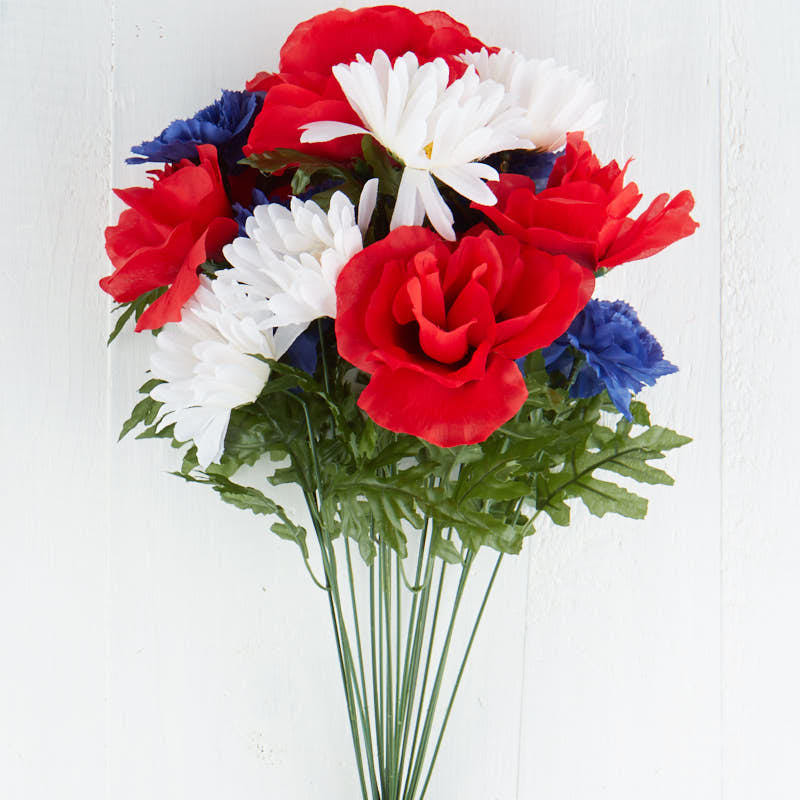 Red, White, and Blue Artificial Floral Bush  Bushes and Bouquets  Floral Supplies  Craft Supplies