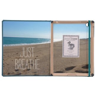 Beach with Just Breathe Quote