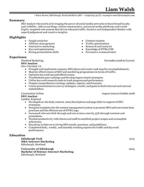 Best SEO Resume Example From Professional Resume Writing