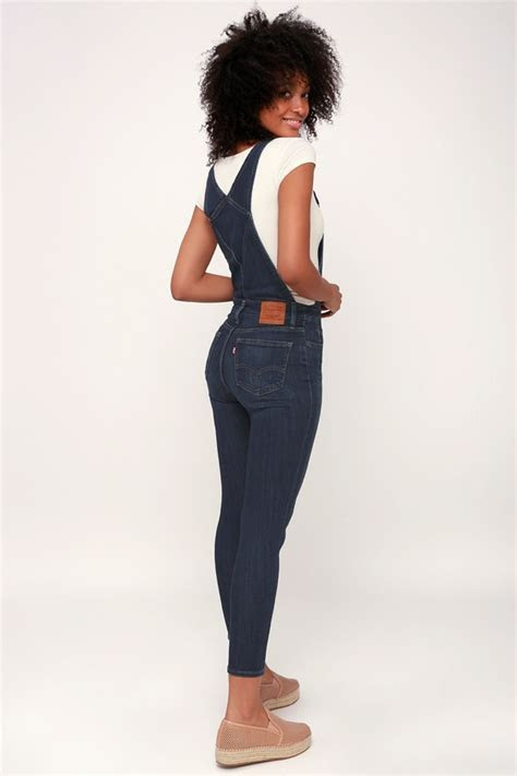 Levi's Over and Out   Medium Wash Overalls   Skinny Overalls