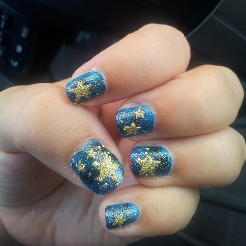 Starry night nail art