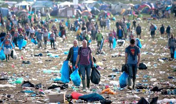 Image result for glastonbury rubbish