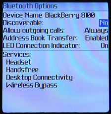 Blackberry Pearl 8100: Opciones de Bluetooth