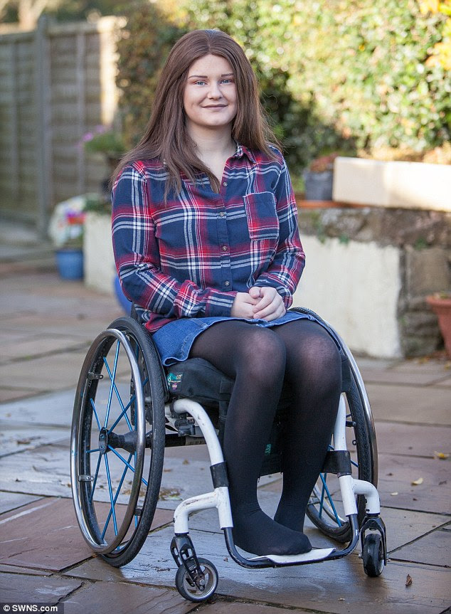 Ashleigh, now 18-years-old, has been left with no movement beneath her chest