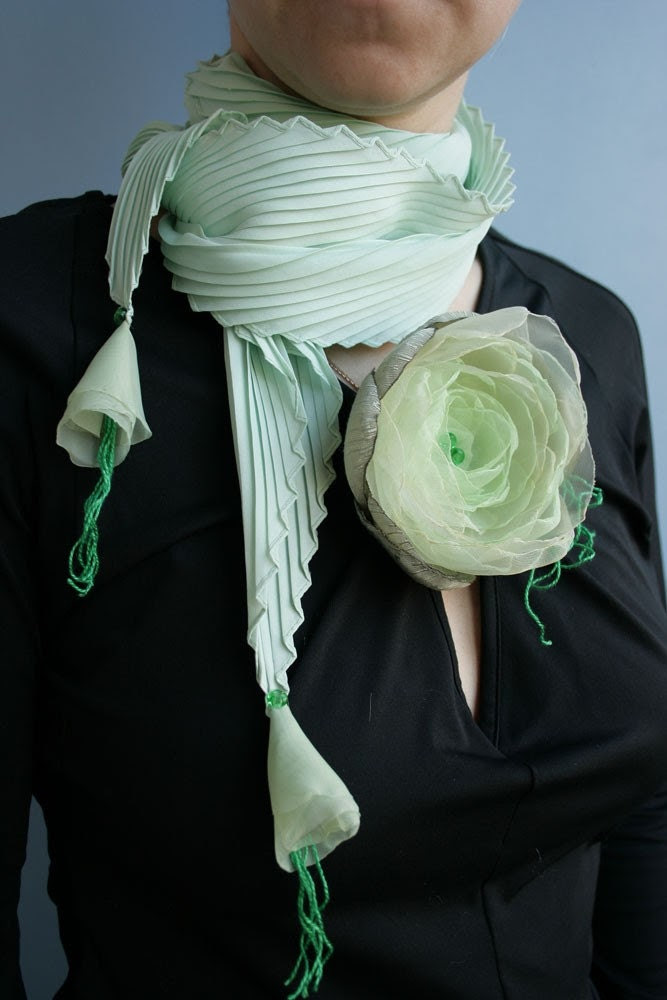Green SCARF with green peony PIN