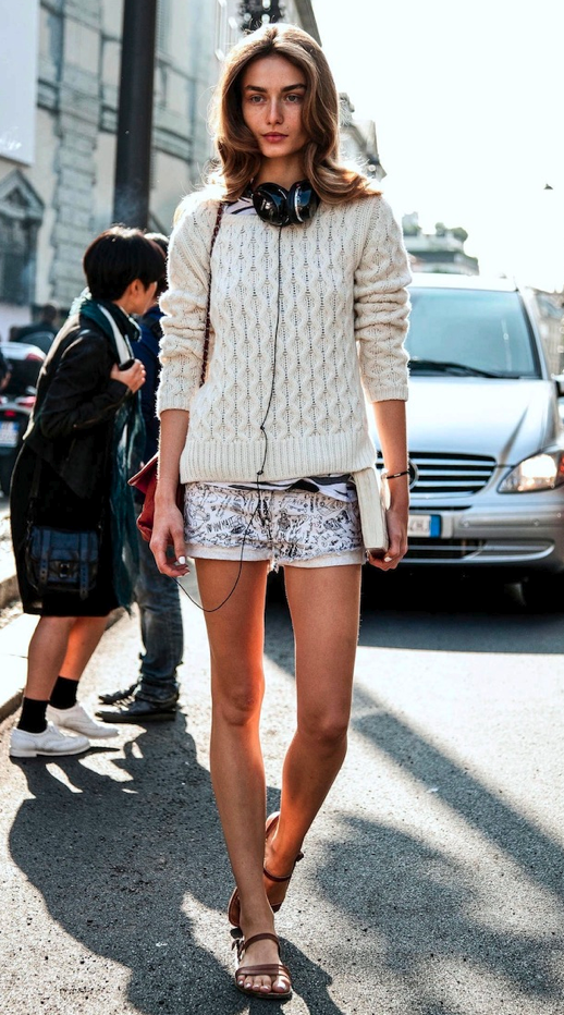 LE FASHION ANDREEA DIACONU PLAID SHIRT LAYERED TEXTURED SWEATER STRIPE STRIPED TEE TSHIRT PRINT WHITE DENIM SHORTS BROWN FLAT SANDALS HEADPHONES BEAUTY HAIR FASHION WEEK MODEL OFF DUTY STYLE 2